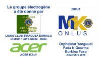 Donato un gruppo elettrogeno a MK Onlus per il Burkina Faso